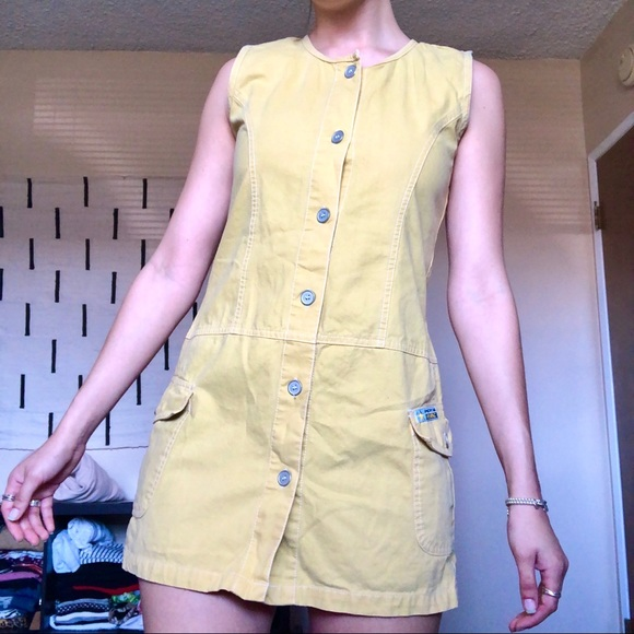 Vintage Dresses & Skirts - Vintage Yellow Button Up Denim Shift Dress